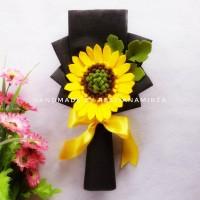 Souvenir Bunga Satuan Buket Matahari Flanel Kado Wisuda Ultah Murah