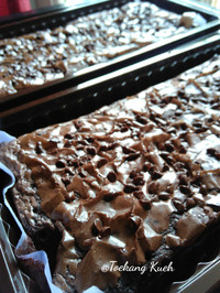 Fudgy brownies, brownies panggang, fudge brownies