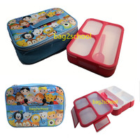 Lunch Box / Kotak Bekal 3 sekat + Lunch Bag Premium Tsum Tsum Biru