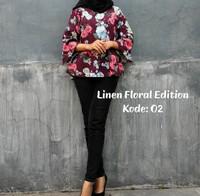 atasan blouse linen floral edition loxe.co