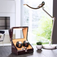 BillStone Collector - 2 Watch Winder - Ebony Wood Finish Khaki Suede