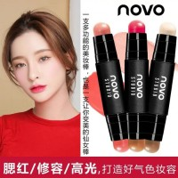 Novo studio silky texture make up stick concealer blush on multifungsi