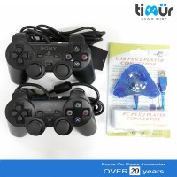 2 Stik Stick PS2 Ori Original Pabrik Hitam + Converter Double