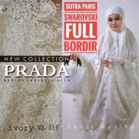 Mukena Bordir Sutra Paris Putih Swarovski Elegan Full Bordir
