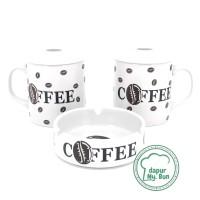 2 Pcs Cangkir Tutup + Asbak Print Coffee / Mug Teh / Gelas Kopi