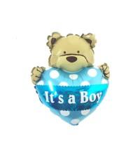 It's A Boy Mini Heart Bear Balloon | Balon Foil Baby Shower