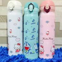 Termos Kancing Doraemon hello Kitty / Botol Air minum 500ML Cold & Hot