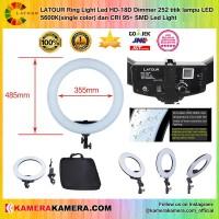 LATOUR Ring Light Led HD-18D Dimmer 252 titik lampu LED + LIGHT STAND