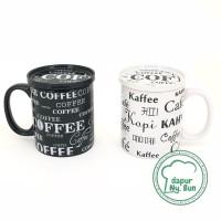 Satu Pasang Cangkir + Tutup Full Print Coffee / Mug Teh / Gelas Kopi