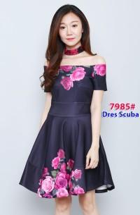 impor 7985 pink casual dress scuba mini dress terusan dress sabrina