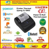 Printer Bluetooth POS 58 mm Zjiang 5802 + 10 Roll thermal paper