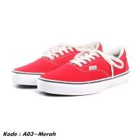Sepatu sneakers pria kets kasual kanvas merah murah A03-merah