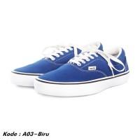 Sepatu sneakers pria kets kasual kanvas biru murah A03-biru