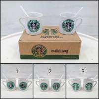 Cangkir / Mug Keramik Starbucks 2 in 1 Set