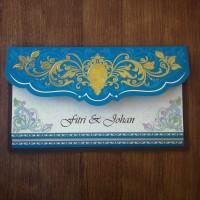Undangan Pernikahan Vintage Floral Hijau Emas (88171)