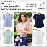 Baju Atasan Blouse Korea Import AB833989 Putih White Pink Blue Green