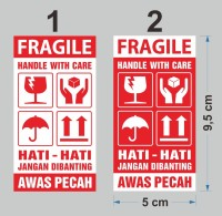 Sticker Fragile handle with care Stiker Hati-Hati Awas Pecah 9,5x5 cm
