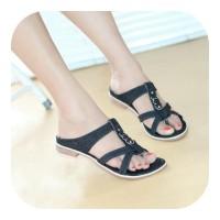 Sandal wanita flat jepit bahan levis