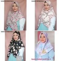 Square Instan Motif (Hijab Segiempat Wollpeach / Wolfis Motif Bunga)