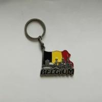 Gantungan Kunci Metal Souvenir Mancanegara Belgium Flag Belgia