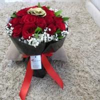 Buket Bunga Wisuda / Buket Bunga / Hand Bouquet / Bunga Mawar gold