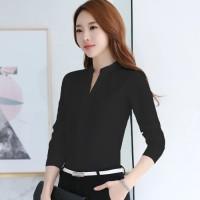 Atasan - Kemeja - Blouse wanita style korea V neck lengan panjang