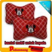 bantal kepala gambar minnie mouse merah/bantal kepala untuk dimobil++.
