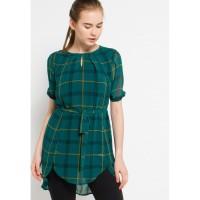 POINT ONE - LAURETTA Plaid Sheered Dress