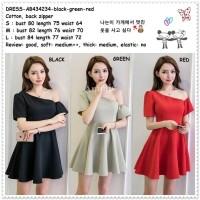 Mini Dress Sabrina Gaun Pesta Korea Import AB434234 Black Red Merah