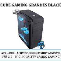 Casing PC CPU Cube Gaming Grandes Black - Full Acrylic Double Side Win