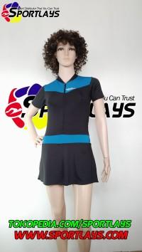 Baju Renang Speedo Diving Rok Hitam Biru Muda