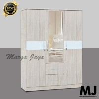 Lemari Pakaian 3 Pintu Laci Oak Modern Minimalis