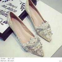 BLT 03 / Flatshoes Pesta / Flatshoes Balet Brukat Mahkota