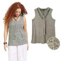 Atasan Wanita Big Size L-4XL Blouse Blus Vneck Tanpa Lengan Branded