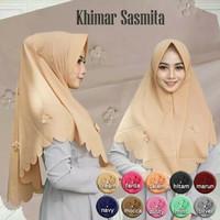 Hijab Khimar Pet Antem Sasmita Bunga Mutiara High Quality