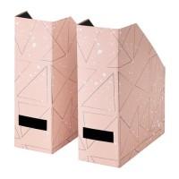 IKEA TJENA File Majalah set isi 2, merah muda hitam, pink