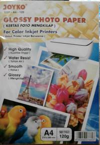 Glossy Photo Paper Kertas Foto Mengkilap A4 Tebal 120 gr Joyko Isi 50