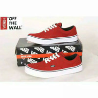 Sepatu Sneakers Casual Kanvas Pria Cowok Vans Era Authentic Merah