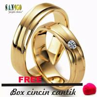 cincin pasangan nikah kawin emas kuning dan paladium 43S
