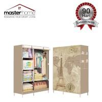 Lemari Pakaian Portable Motif 3D Plus Cover Printing - Paris Cream FS