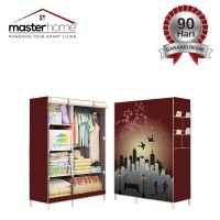 Lemari Pakaian Portable Motif 3D Plus Cover Printing - Maroon NightFS