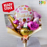Bouquet / Buket Parcel Balon Bunga Happy Birthday Pink