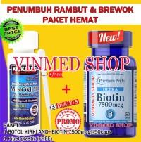 Kirkland Minoxidil+Biotin 7500mcg @50caps Paket Hemat