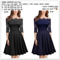 Mini Dress Brukat Gaun Pesta Sabrina Korea Import AB935339 Black Hitam