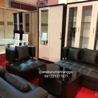 sofa MURAH minimalis hitam FULL KULIT FREE ONGKIR promo lebaran
