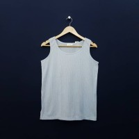 KL960 Size M Tank Top Poly Rajut White Blue Casual Murah Import