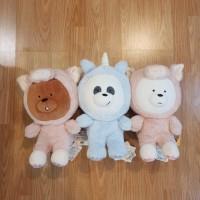 Boneka We Bare Bears Costume Sit Doll Grizz Pig Panda Unicorn Ice Bear