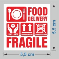 Sticker Food Delivery Stiker Makanan Fragile 5,5 x 5,5 cm