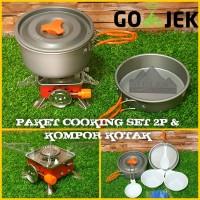 Paket Hemat Cooking set / Nesting 2 person & Kompor camping Redbird