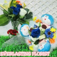 Bucket Doraemon Buket Bunga boneka Bouquet Wedding Wisuda Engaged Kado